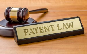 Picture of patent law sign next to gavel