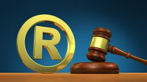 Picture of registered trademark symbol and gavel